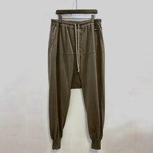 Owen Seak Men Casual Harem Pants 100% Cotton Gothic Men Clothing Sweatpants Summer Lightweight Women Solid Loose Pants Size XL