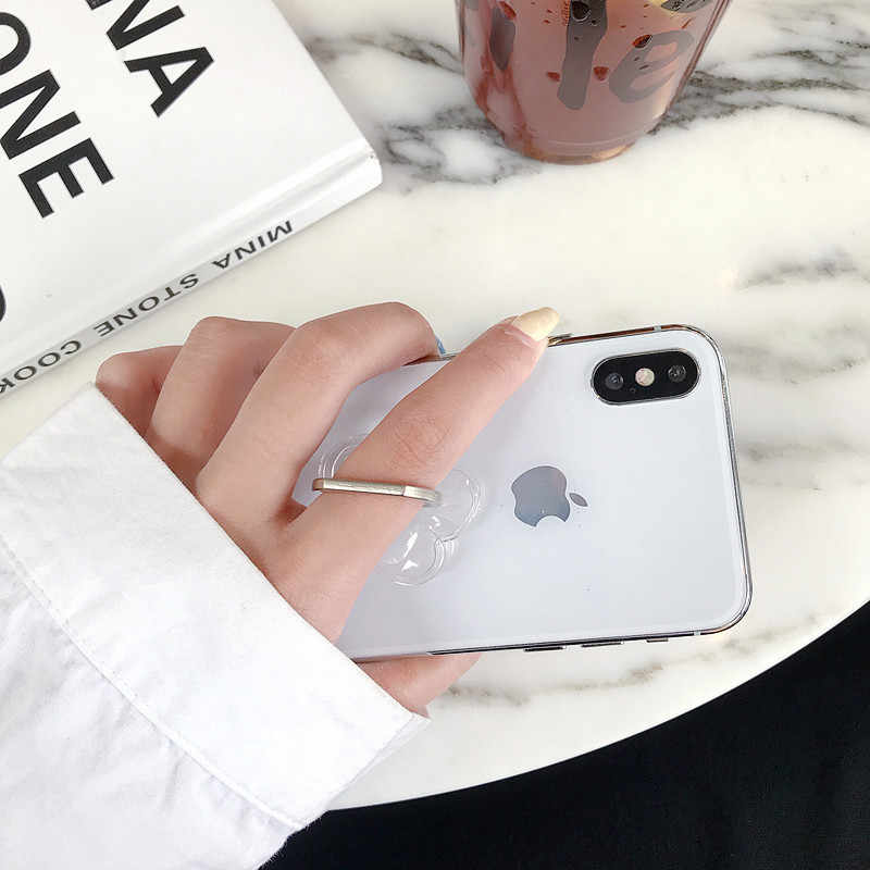 Universele Stent Mobiele Telefoon Houder Stand Vinger Ring Magnetische Voor Leuke Mobiele Smart Phone Transparante Houder Voor Iphone Xs Max 8