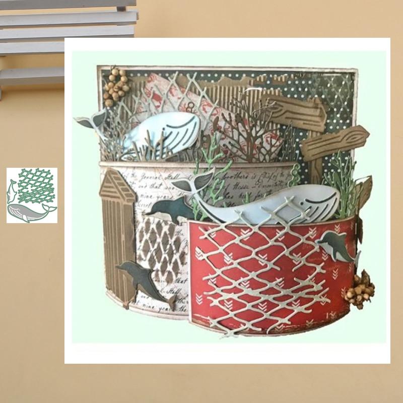 Lucky Goddess Craft Metal cutting dies Whale Dolphin & Net Scrapbook paper craft knife mould blade punch stencils dies 2020