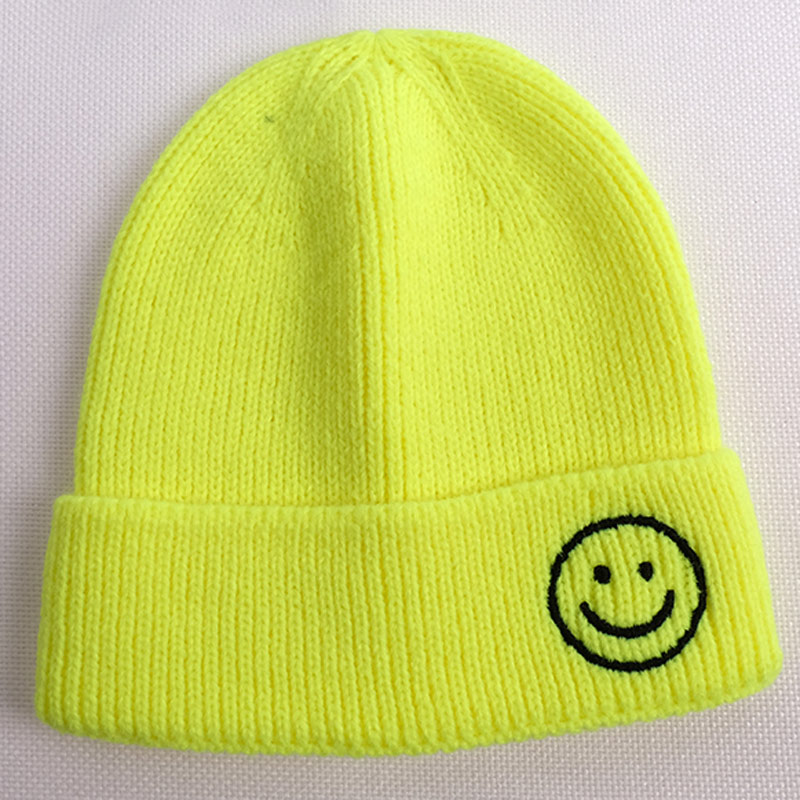 2-8yrs Kids Smiley Face Emoji Hat for Girls Boys Cute   Skullies     Beanies   Winter Knit Cap Neon Yellow Orange Green White Lavender