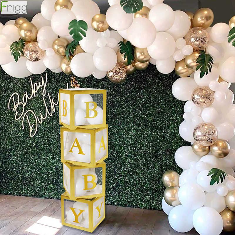 Caixa de ouro transparente com nome, caixa dourada para decoração de festa de 1 ° ano de aniversário suprimentos