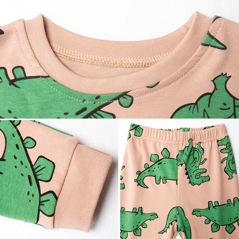 Image 2 - 2019 Autumn Winter Children Dinosaur Cartoon Pajamas For Boys Sleepwear Kids Pajamas Long Sleeve Cotton Toddler Baby Boy Pyjamas-in Pajama Sets from Mother & Kids