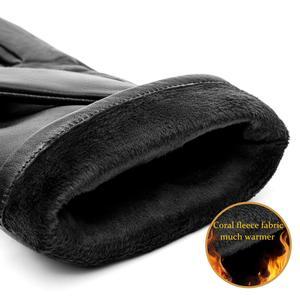 Image 3 - BISON DENIM erkek hakiki deri eldiven dokunmatik ekran koyun derisi sıcak eldivenler yeni kış kaliteli erkek sıcak kabartmak eldiven S003