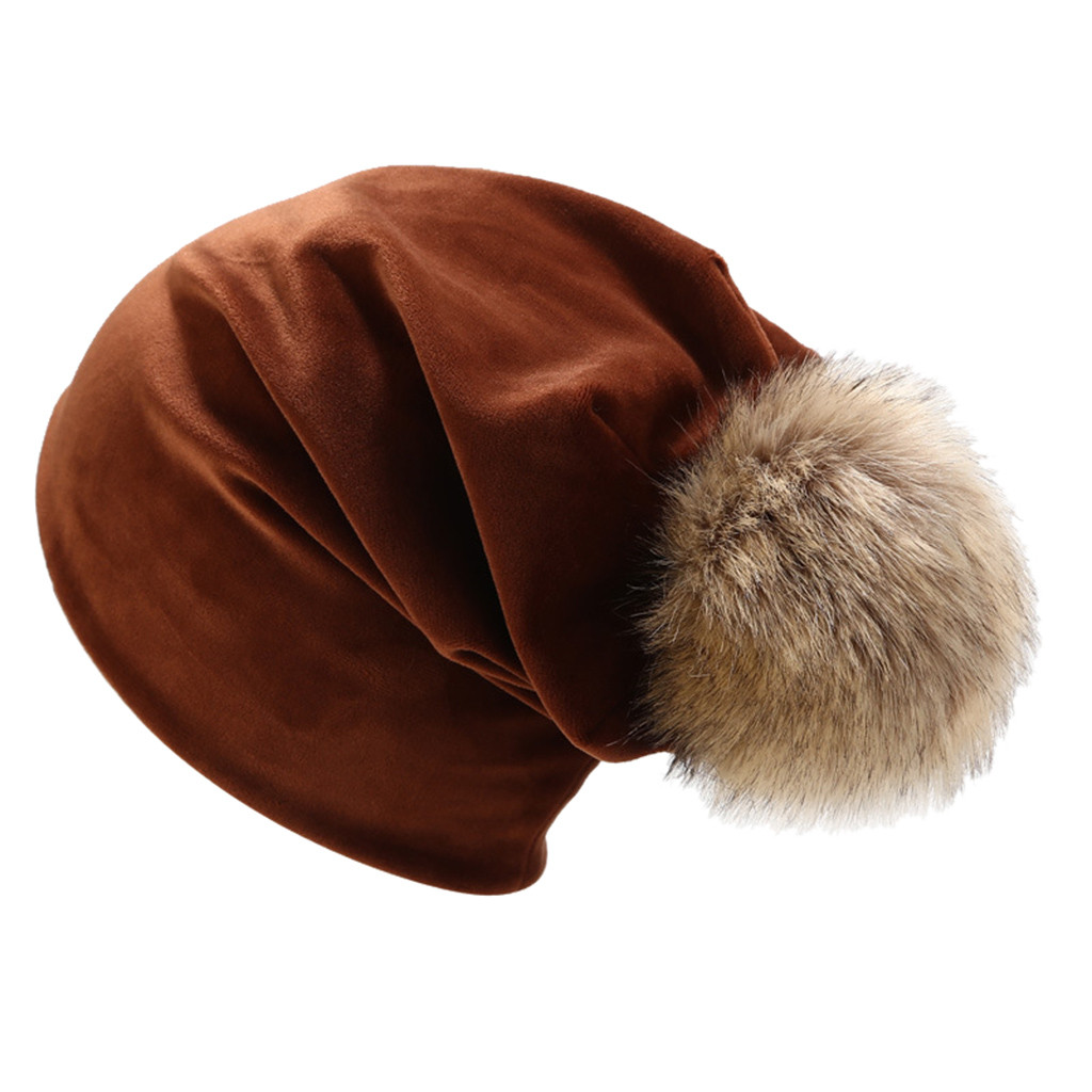 Women Winter Goose Down Headgear Solid Color Pile Cap Casual Earmuffs Suitable For Outdoor Use #YL5