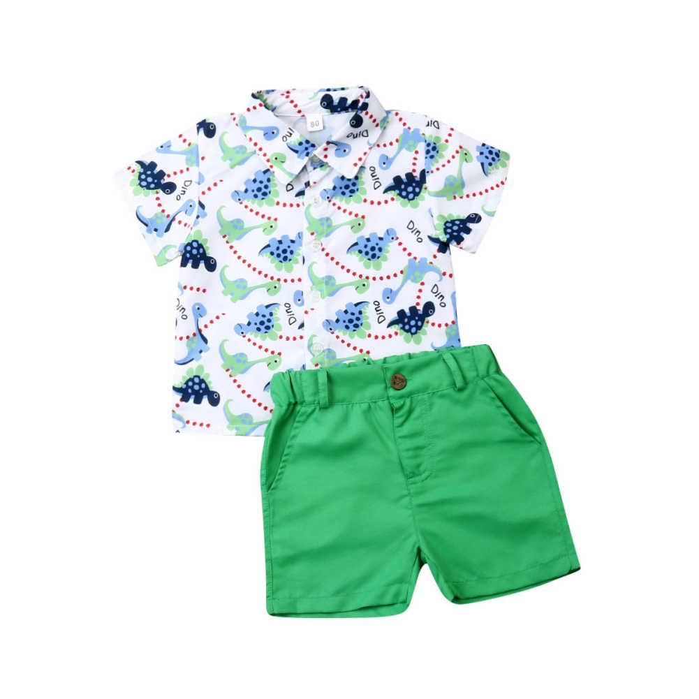 UK Cute Kids Boys Clothes Set Summer Gentleman Dinosaur Shirt Tops Shorts Outfit