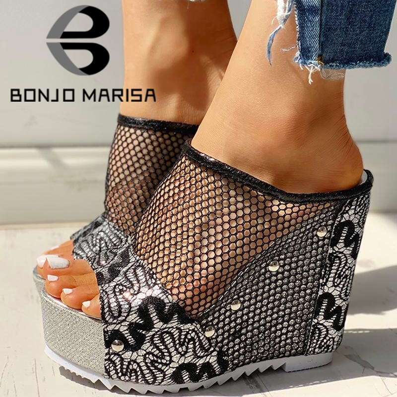 BONJOMARISA 2020 New Ins Hot Summer Fashion High Heels Cool High Platform Sandals Women Summer Casual Mesh Shoes Woman