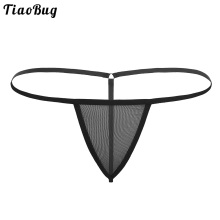 TiaoBug Men Lingerie Stretchy G-string Thong See-through Mesh Bikini Underwear Gay Swimwear Sissy Panties Male Sexy Underpants