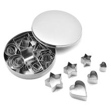 24pcs/set Baking Moulds Stainless Steel Cookie Cutters Plunger Biscuit DIY Mold Star Heart Cutter Baking Mould Stencils Pastry