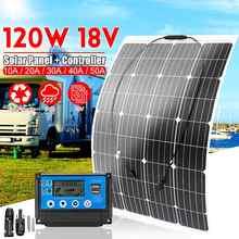 Controlador de Panel Solar semiflexible de silicona monocristalina de 120W y 18V, Conector de cargador de batería para exteriores, para caravana, barco, caravana