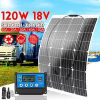 120W 18V Monocrystalline Silicon Semi flexible Solar Panel Controller Battery Charger Connector Outdoor for RV Boat Caravan