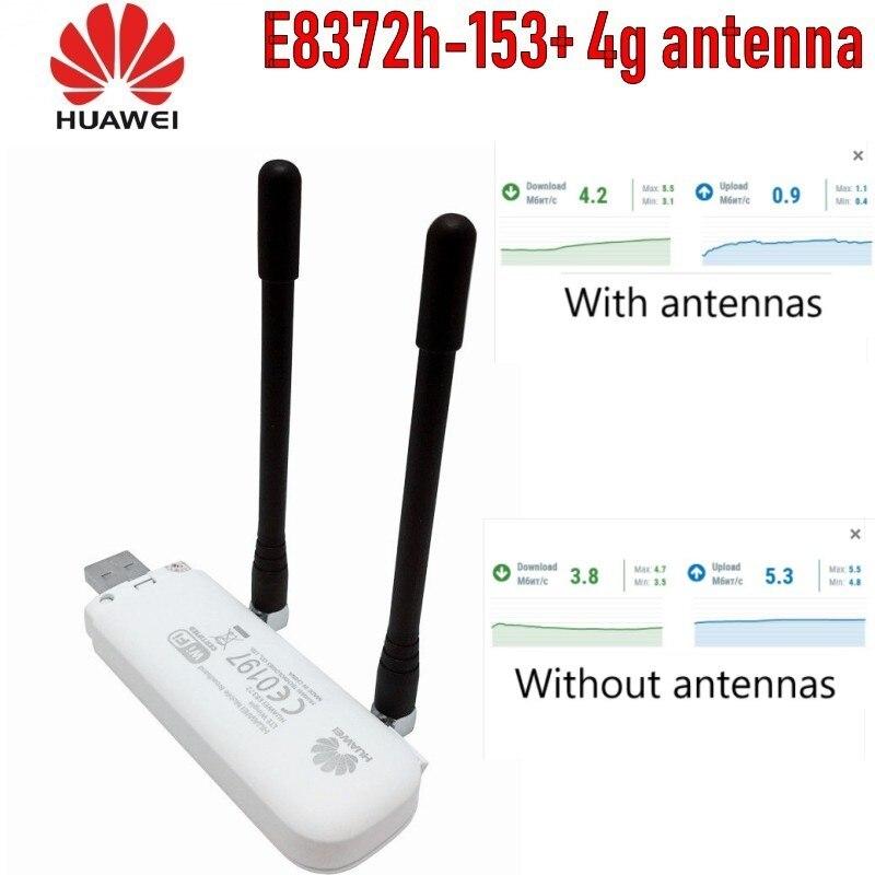 (+ 2 stücke antenne + Basis ladegerät) entsperrt Huawei E8372h-153 Cat4 WiFi Dongle 3G 4G FDD 150Mbps Wireless Modem