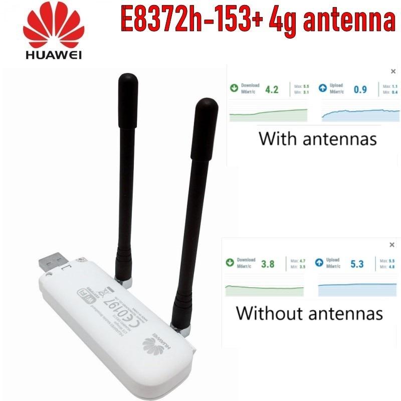 (+2pcs Antenna+ Base Charger)Unlocked Huawei E8372h-153 Cat4 WiFi Dongle 3G 4G FDD 150Mbps Wireless Modem