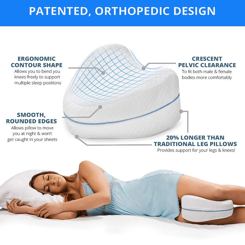 Memory Foam Leg Pillow For Back, Hip, Legs & Knee Support Wedge & Sciatica Nerve Pressure