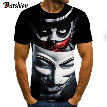 2020 Summer New Style Clown Printed T-Shirt Joker Face Male T-shirt Men Women Hip Hop Streetwear Funny 3D Tshirts