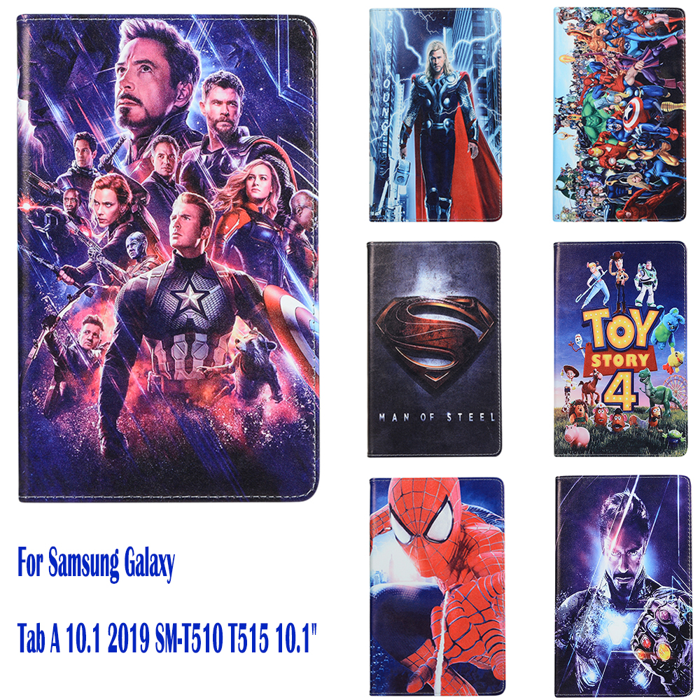 For Samsung Galaxy Tab A 10.1 2019 Case SM-T510 T515 10.1'' Shell Protective Stand Smart Funda Cover Marvel Avengers Spiderman