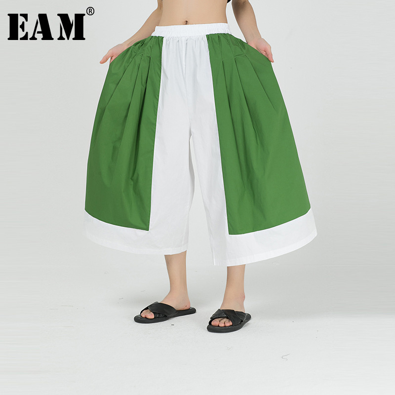 [EAM] High Elastic Waist Contrast Color Wide Leg Green Trousers New Loose Fit Pants Women Fashion Tide Spring Autumn 2020 1R836