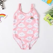 Новинка года, купальный костюм для маленьких девочек, Цельный купальник для девочек, классический детский комбинезон освещение в форме улыбки, облако, купальник для девочек, купальный костюм