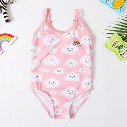 2020 New Baby Girl Swimsuit Girl's One Piece Swimwear Classic Children Bodysuit Smile Light Cloud Swimsuit for Girl Bathing Suit