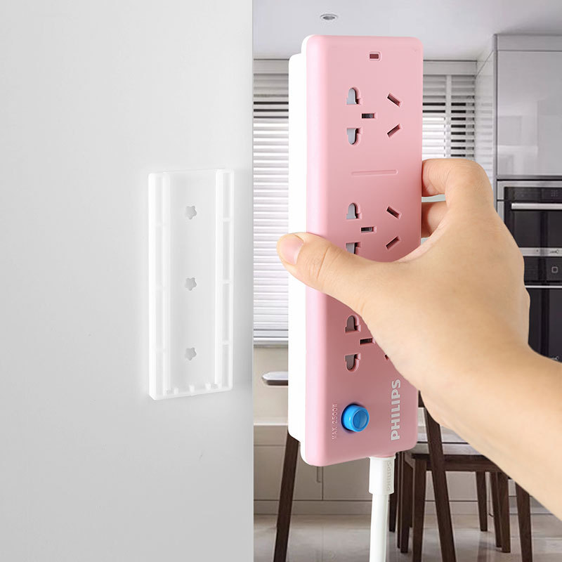 Socket Holder Wall Sticker Plug-in Removable Household Punch-free Patch Panel Socket Hanging Wall Fixed Tool Cable Accessories