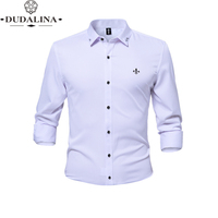 Anti wrinkle and non iron Blusa Camisa Social Masculina Dudalina Long Sleeve Slim Fit Shirt Men Floral clothing White Male