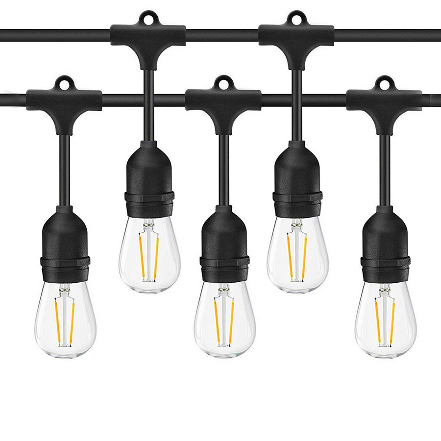 Thrisdar 15M Commercial Grade Outdoor S14 LED String Lights With 15PCS E27 2W Edison Bulb Patio Wedding Globe Bulb Garland Light
