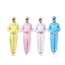 цена на Protective Suit Hooded Jumpsuits Anti-static Dust-free Solid Color Clothing Soft Skin-friendly Clean Coveralls Work Clothes