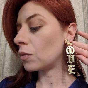 Image 4 - Custom Old English Letter Earrings Name Earring Personalized Letters Dangle Earrings Women Gold Customized Jewelry ETSY