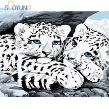 Sdoyuno масляная краска по номерам 60x75 см снежный леопард