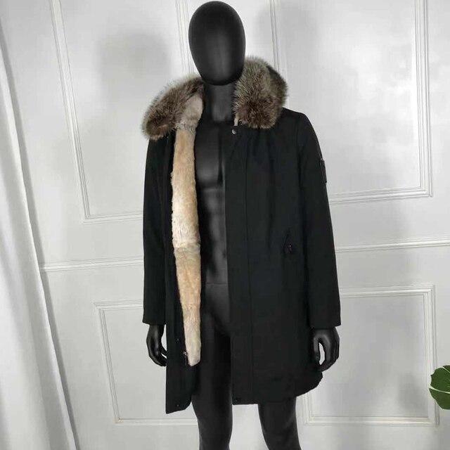 Véritable fourrure Parkas vestes dhiver à capuche coupe-vent mâle naturel lapin doublure de fourrure renard-col de fourrure manteaux vêtements dextérieur de haute qualité