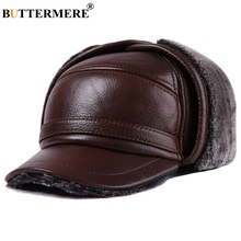 BUTTERMERE Winter Baseball Caps For Men Brown Warm Bomber Hat With Earflaps Fur Genuine Cow Leather Luxury Brand Snapback