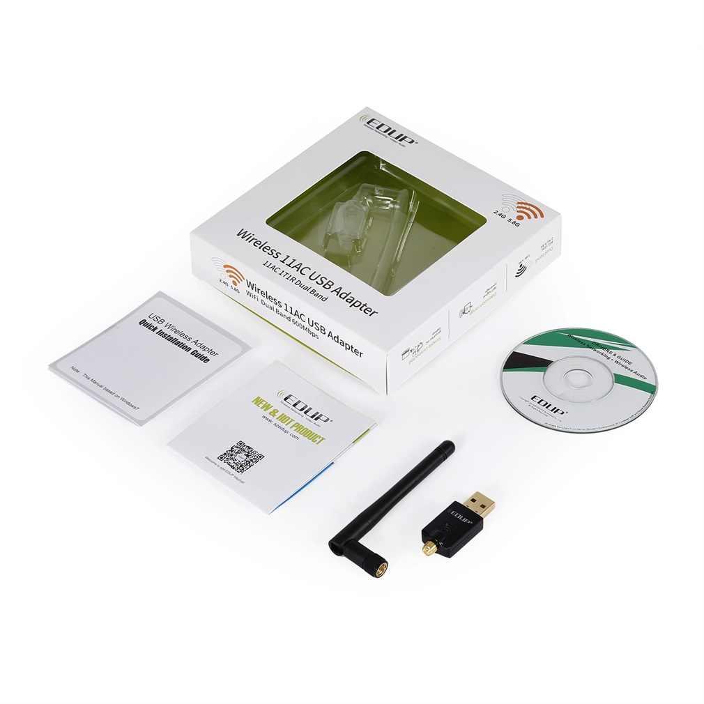 Adaptador USB WiFi AC600Mbps 2,4 GHz y 5,8 GHz adaptador de red inalámbrica doble banda Wifi Dongle 2dBi antenas externas