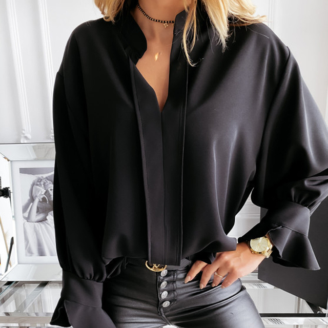 2020 Autumn Winter Ruffles Women Shirt Blouse Long Sleeve V-Neck Tops Shirts Lady Flared Sleeves Blouses Female Loose Top Blusa 3