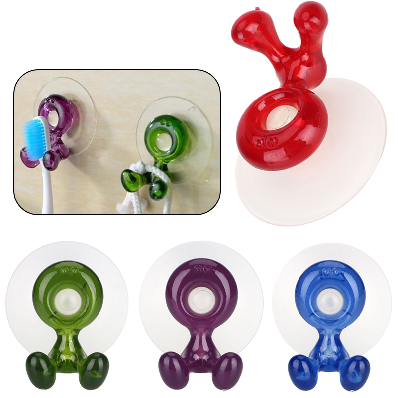Wall Hang Rack Red/Green/Blue/Purple Cartoon Suction Cup Toothbrush Rack Toothbrush Holder Plastic Lovely Sucker Bathroom Home image