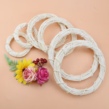 10/15/20cm White Rattan Ring Artificial flowers Garland Dried flower frame For Christmas Home Decor DIY floral wedding Wreaths(China)