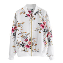 Jacket Women Retro Floral Printing Zipper Up Bomber Casual Coat Outwear chaqueta mujer