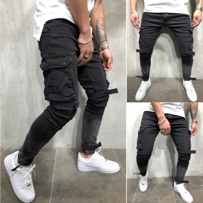 2019 Fashion Design Men's Slim Fit Urban Straight Leg Trousers Casual Pocket Decoration Pencil Jogger Cargo Pants