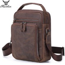 Flanker shoulder bag for men crazy horse genuine leather vintage messenger bags high quality crossbody man handbag sling