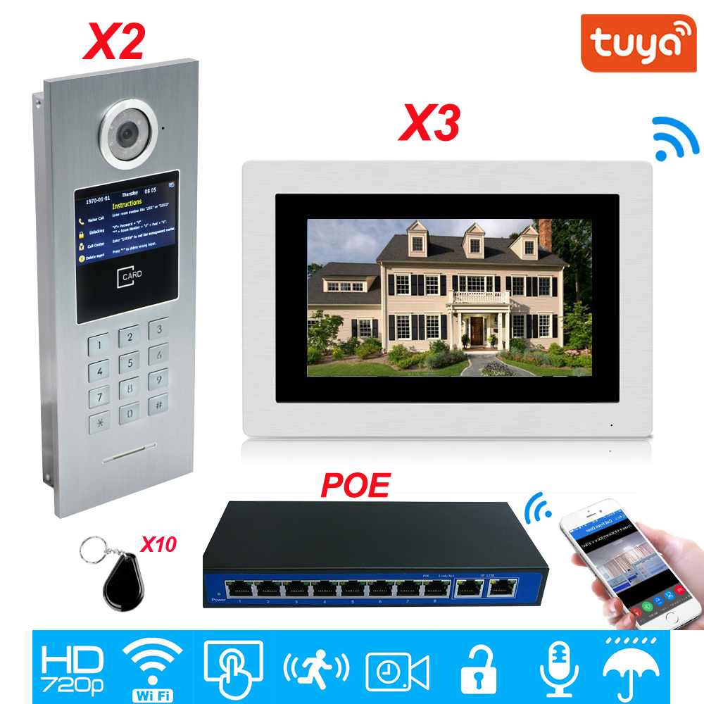 TuyaSmart APP Supported 960P WiFi Video Door Phone 7'' IP Video Intercom Security Home Access Control System Keypad/IC Card/POE