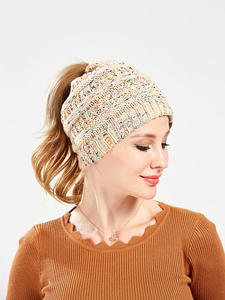 Ponytail Beanie Knitted Hat Warm-Caps Crochet Messy Winter Fashion Women Stretch Holey