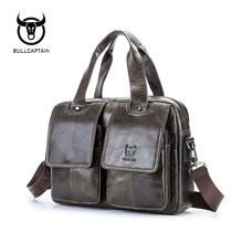 BULLCAPTAIN 2019 Men leather bag business Computer Laptop Bags Fashion cowhide male commercial briefcase Messenger Shoulder Bags цена и фото