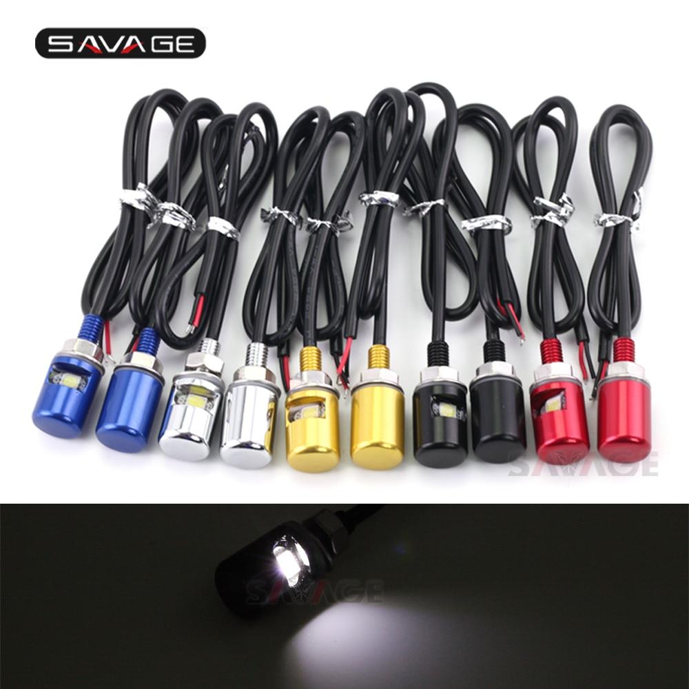 1 pair Universal 12V LED License Plate Light Screw Lamp Bolt White Light Chrome Black Blue Red Gold Motorcycle Waterproof CNC