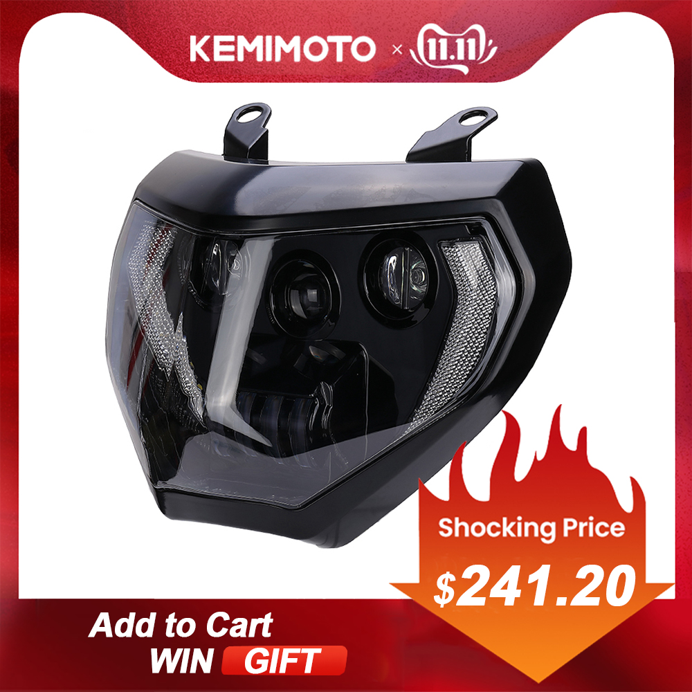 KEMiMOTO For MT07 MT09 LED Headlight Lamp For YAMAHA MT09 FZ09 2014 2015 2016 Motorcycle Headlight DRL For MT07 2018 2019 110W