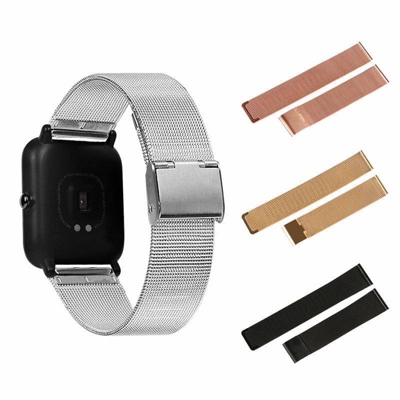 For Amazit Bip Strap Correa Stainless Steel Bracelet For Xiaomi Huami Amazfit Bip Youth Milanese Metal Watchband Wristband Pulseira