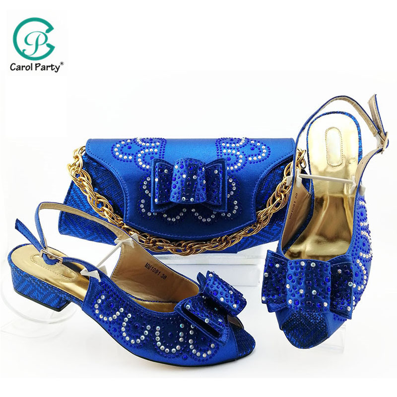 2019 African Special Design Ladies Shoes And Bag Set Royal Blue Color Italian Shoe With Matching Bag Comfortable Heel Women Shoe