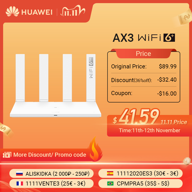 Global Version HUAWEI AX3 Router WiFi Revolution WiFi 6  3000 Mbps Make Full Use Of Your Internet WiFi6 MultiLanguage Easy Setup