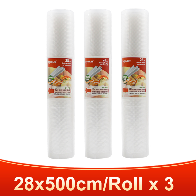 3 rolls 28x500cm-TINTON LIFE vacuum bags for food Fresh Long Keeping 12+15+20+25+28cm*500cm Rolls/Lot bags