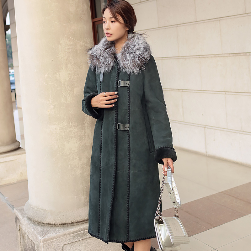 Natural Real Fur Coat Winter Women Clothes 2020 Female Fox Fur Collar Genuine Leather Wool Jacket Double-faced Tops ZT4088