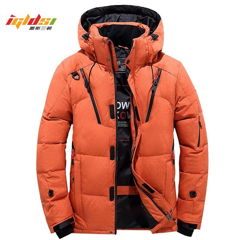 Men's Winter White Duck   Down   Jacket Thicken Snow Parka Overcoat Jacket Men Windbreaker Tace & Shark   Down   Outwear   Coat   Size M-4XL