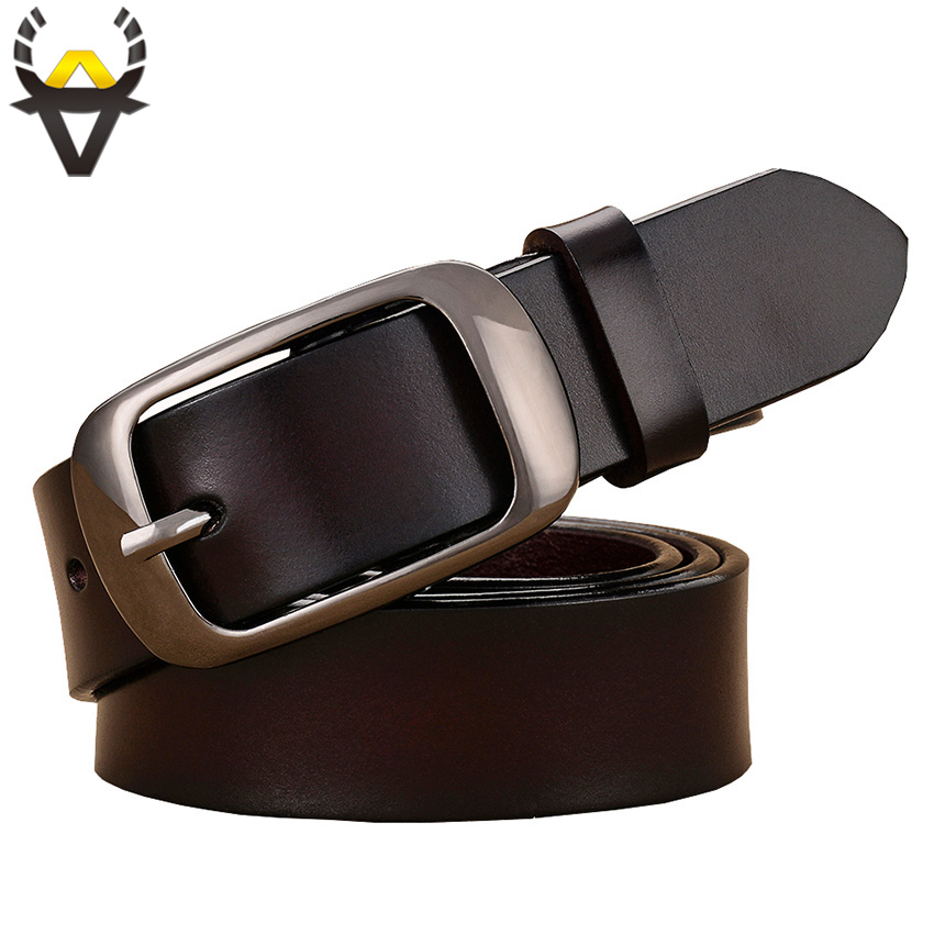 Fashion Genuine Leather   Belts   For Women Quality Pin Buckle Woman   Belt   Cow Skin Waist Strap Female Girdle For Jeans Width 2.8 Cm