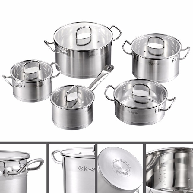 Velaze Kitchen Cookware Set 9 Piece Stainless Steel Cooking Pot & Pan Sets, Induction Safe, Saucepan, Casserole,with Glass lid 3